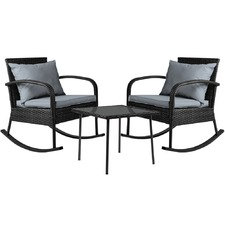 2 Seater Black Harrien Outdoor Rocking Lounge Set