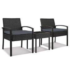 2 Seater Black Horden Outdoor Rattan Lounge Set