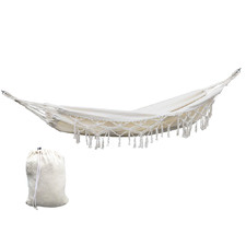 Cream Gideon Hammock Tassel Swing Chair