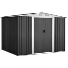 Grey Giantz Steel Garden Shed with White Trim