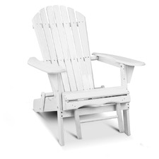 White Hudson Adirondack Chair with Pull-Out Ottoman