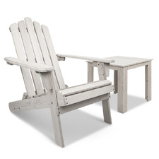 White Slydes Fir Wood Adirondack Chair & Table Set