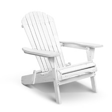 White Hudson Foldable Adirondack Chair