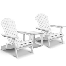 2 Seater White Hudson Adirondack Chair & Table Set