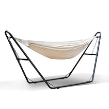 Cream Jaxton Cotton Hammock Bed with Stand