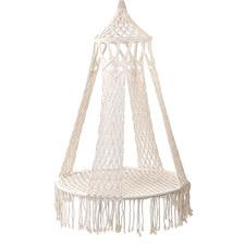Cream Boho Cotton-Blend Hammock Swing Chair