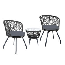 2 Seater Braun PE Wicker Patio Chair & Table Set