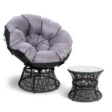 Henri PE Wicker Outdoor Papasan Chair & Table Set