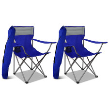 Walter Foldable Camping Armchairs with Back Pouch (Set of 2)