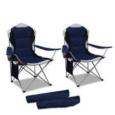 Walter Foldable Camping Armchairs with Side Pouch (Set of 2)