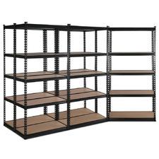180 X 90cm Black Renzo Steel Shelving Units (Set of 5)