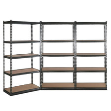 180 X 90cm Charcoal Renzo Steel Shelving Units (Set of 3)