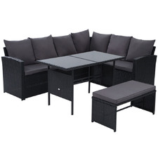 7 Seater Hansley Outdoor Dining Set with Storage Cover