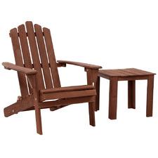 Brown Valencia Outdoor Adirondack Chair & Table Set