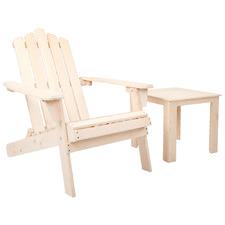 Natural Valencia Outdoor Adirondack Chair & Table Set