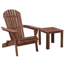 Brown Vito Outdoor Adirondack Chair & Table Set