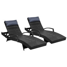 Odessa PE Wicker Outdoor Sun Lounges (Set of 2)
