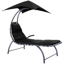 Black Tadlac Outdoor Sun Lounge with Canopy