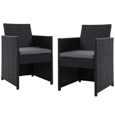 Black Roshan PE Wicker Outdoor Dining Chairs (Set of 2)