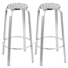 82cm Silver Morini Aluminium Outdoor Barstools (Set of 2)