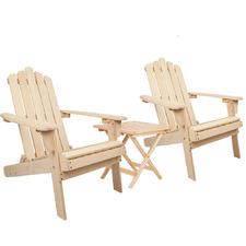 Ventura Hemlock Wood Adirondack Chairs & Table Set