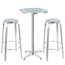 2 Seater Silver Morini Round Outdoor Bar Table Set