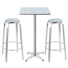 2 Seater Silver Morini Square Outdoor Bar Table Set