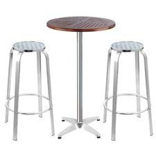 2 Seater Bozzeli Wood & Aluminium Outdoor Bar Table Set