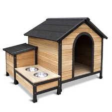 Timber Dog Kennel with Food Bowls