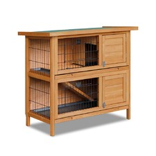 Double Storey Rabbit Hutch with Foldable Ramp