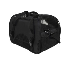Black Portable Pet Carrier with Safety Leash