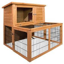 2 Storey Rabbit, Guinea Pig, Ferret Cage Hutch In-built Tun