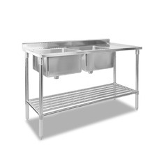 Stainless Double Steel Sink Bench