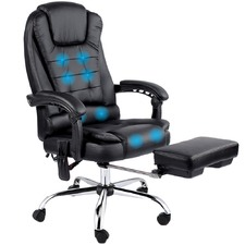 Black Reclining Office Message Chair