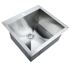 Stainless Steel Kitchen Laundry Sink w/ Strainer Waste 530 x 500mm