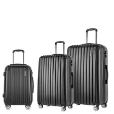 3 Piece Black Hard Shell Luggage Set