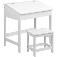 White Kids' Lift Top Desk & Stool