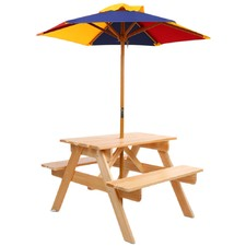 Natural Kids' Wooden Picnic Table Set with Umbrella
