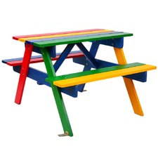 Rainbow Kids' Wooden Picnic Table & Bench