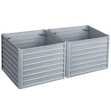 Square Galvanised Steel Raised Garden Beds (Set of 2)