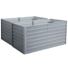 Rectangular Galvanised Steel Raised Garden Beds (Set of 2)