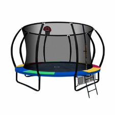 9ft Multicolour Fitness Buddy Trampoline with Basketball Set