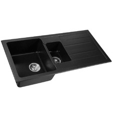 Black Ric Granite Double Bowl Sink