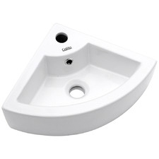 White Cefito Ceramic Corner Basin