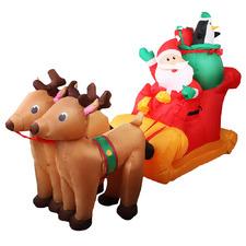 142cm Inflatable Santa Sleigh with Reindeers