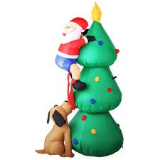 180cm Inflatable Climbing Santa with Dog on Christmas Tree