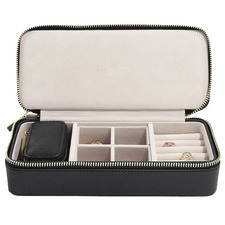 Large Black Faux Leather Travel Jewellery Box