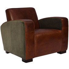 Hudson Velvet & Leather Armchair