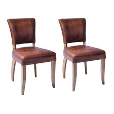 Levi Waxed Leather Dining Chairs (Set of 2)