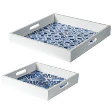 2 Piece White & Blue Bates Decorative Tray Set
